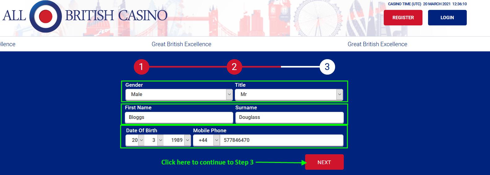 Registration at All British Casino