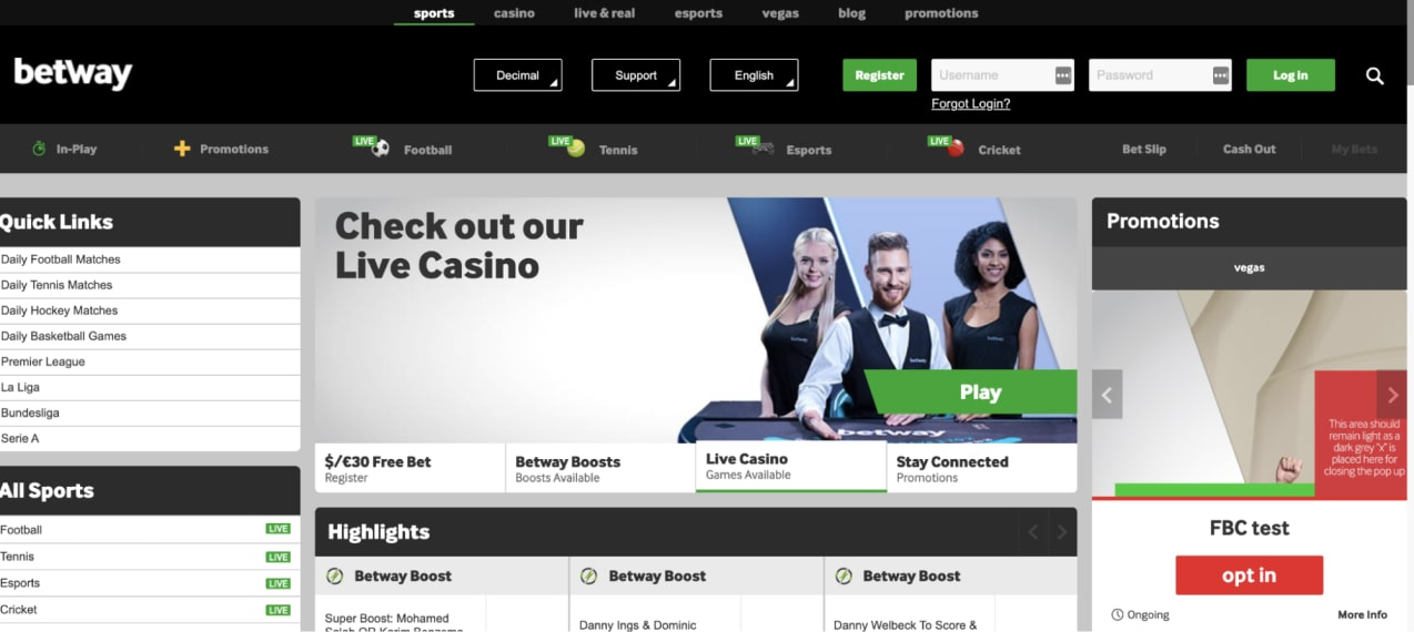 Betway Casino Software