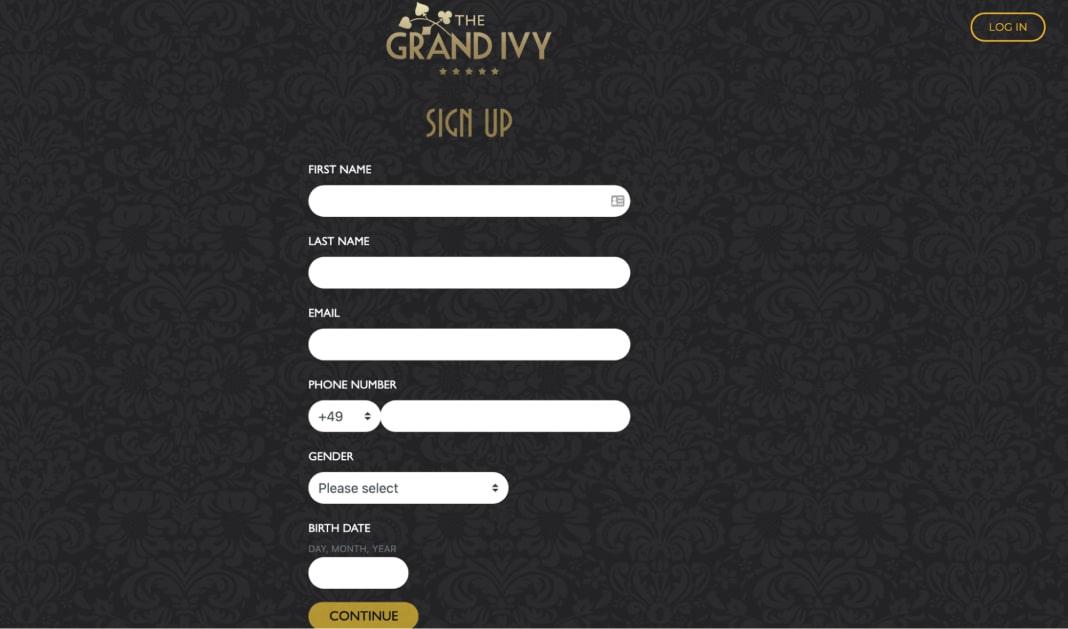 Grand Ivy Casino Login Process