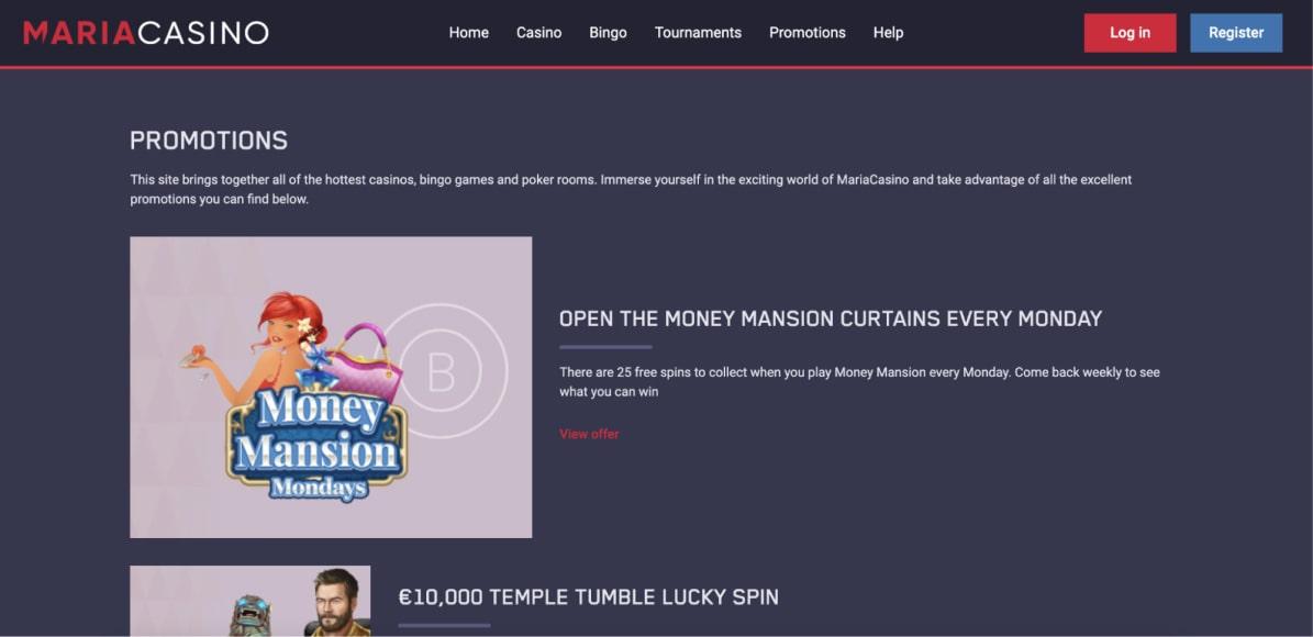 Bonuses & Promotions Maria Casino