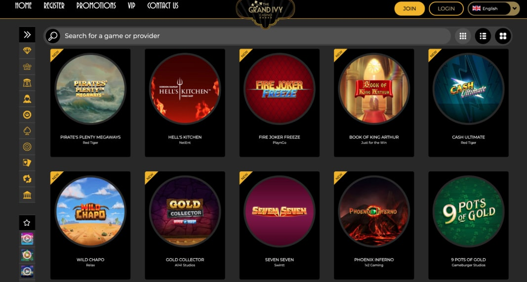 Grand Ivy Casino games collection