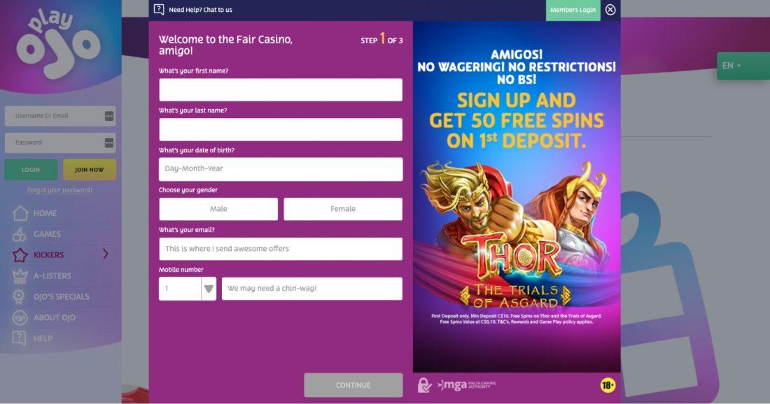 PlayOJO Casino registration