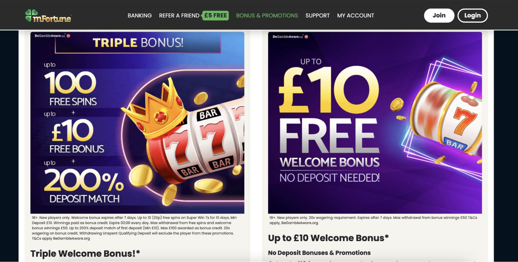 mFortune Casino Bonuses