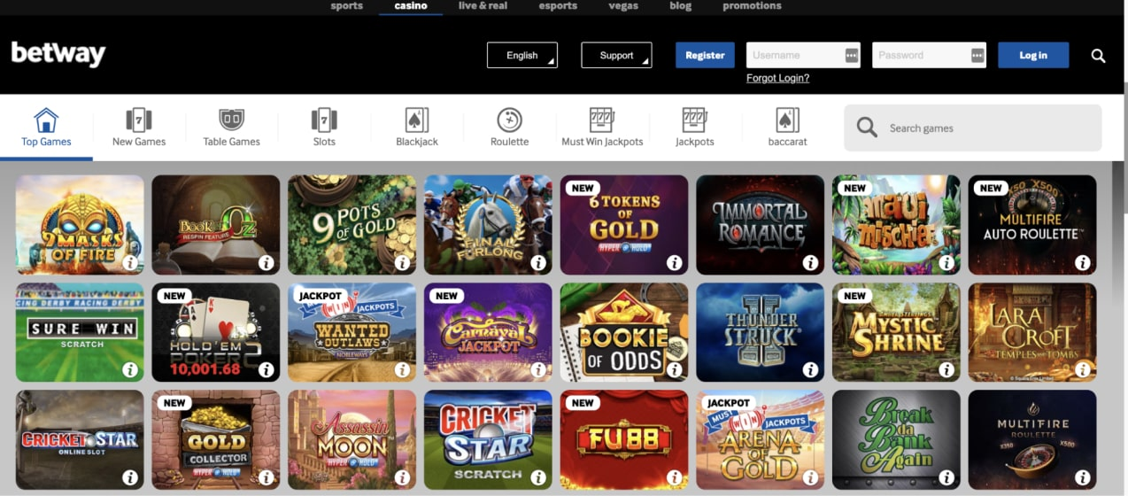 Betway Casino Software and Games Offered