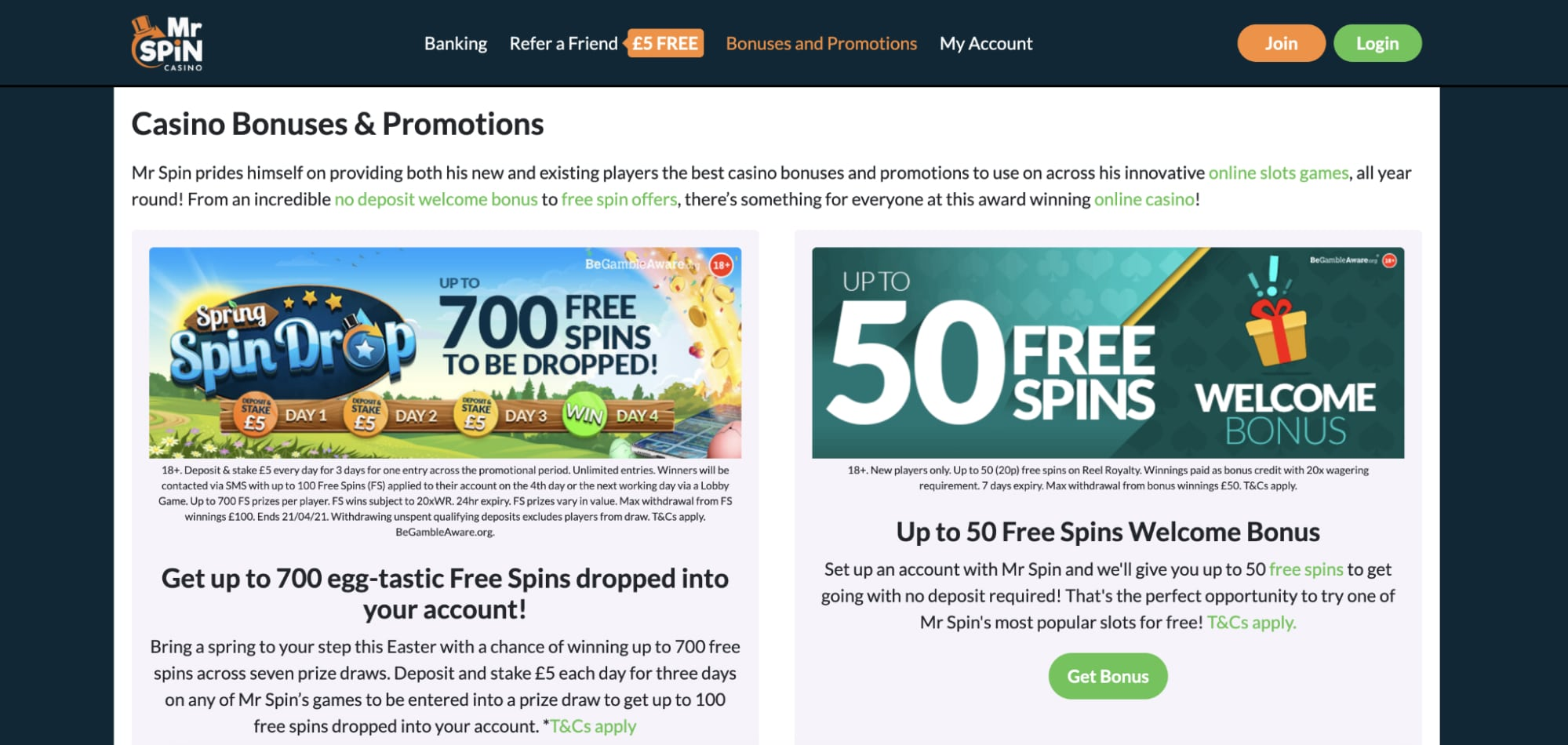 Get up to 50 free spins mrspin
