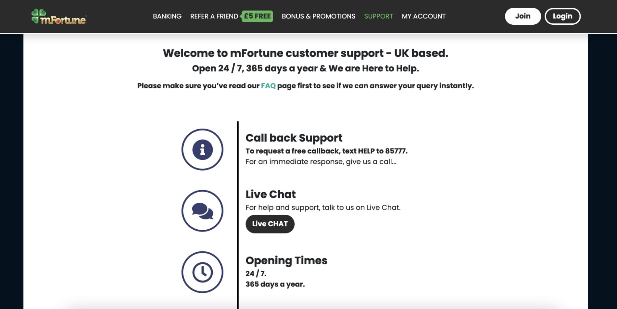 Customer Support mFortune Casino