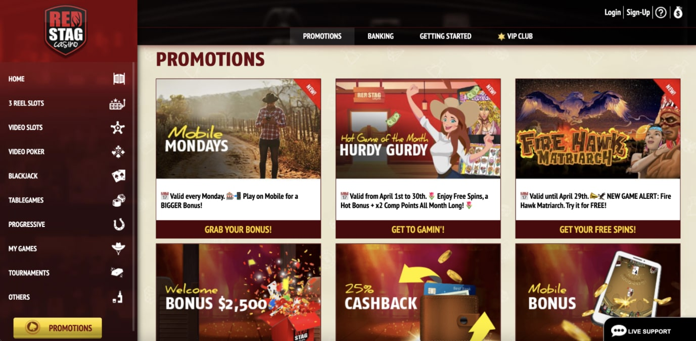 Red Stag Casino No Deposit Bonus & Other Promotions