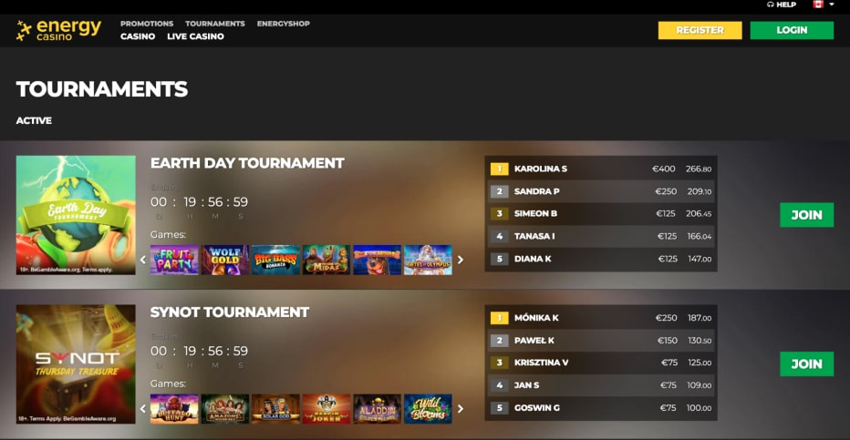 EneryCasino tournaments