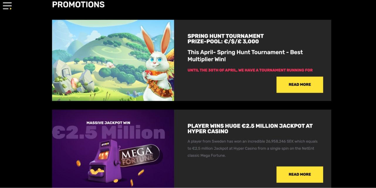 Hyper Casino Bonuses & Promotions