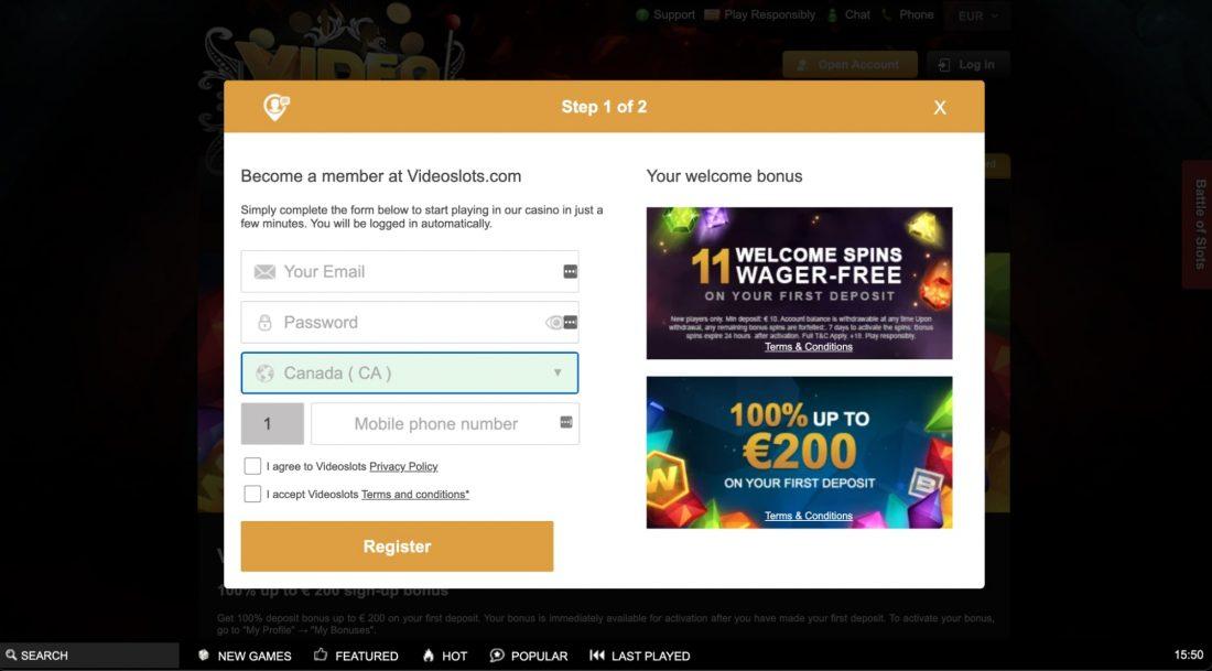 Videoslots-Casino-login
