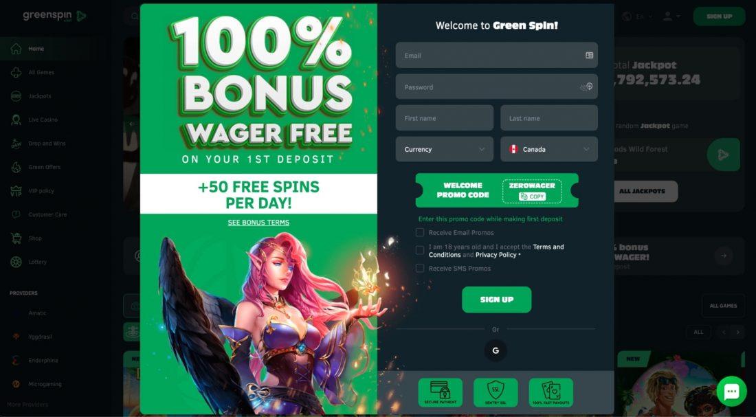 GreenSpin-Casino-login-process