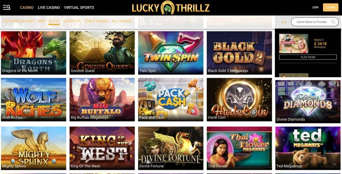 lucky-thrillz-games-offered