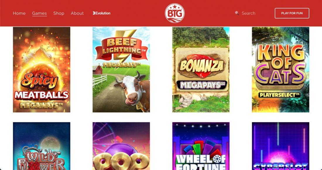 big time gaming games choice