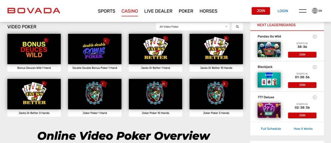 bovada-casino-video-poker