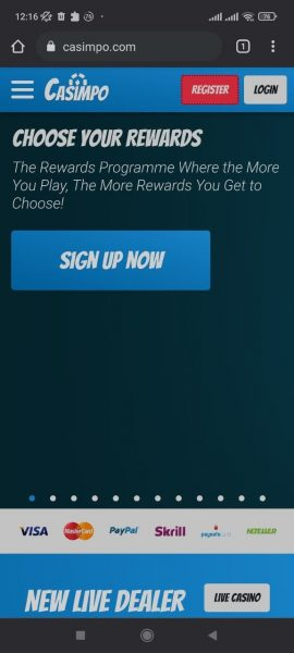 Casimpo Casino Mobile app