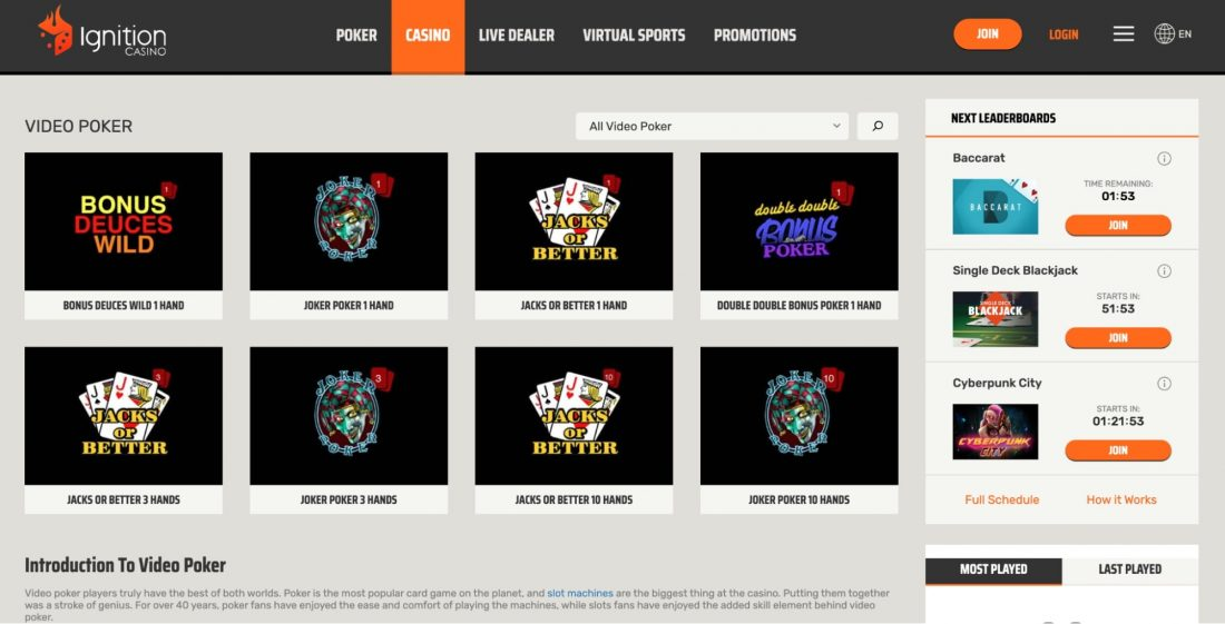 ignition-casino-video-poker