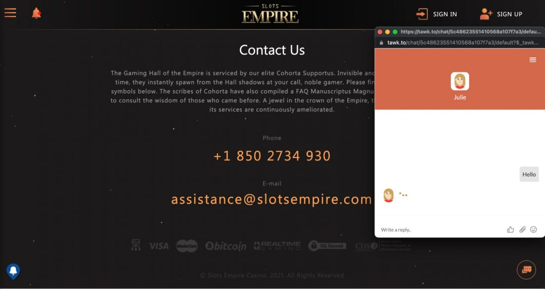 slots-empire-casino-customer-service