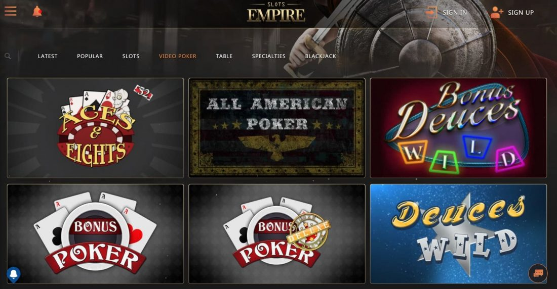 slots-empire-casino-video-poker
