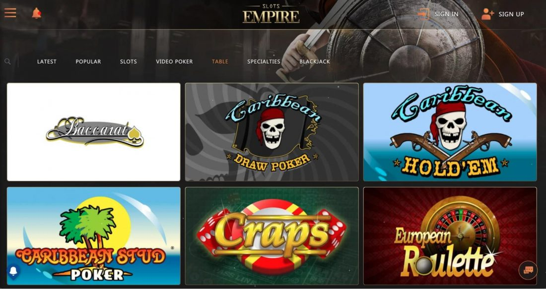slots-empire-table-games