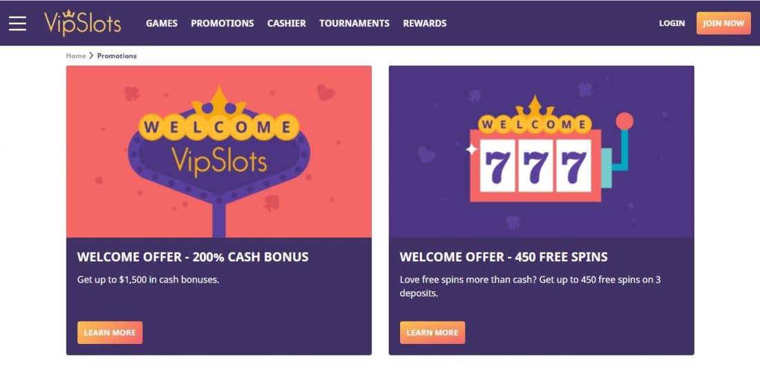 VIP Slots Casino Welcome Bonus