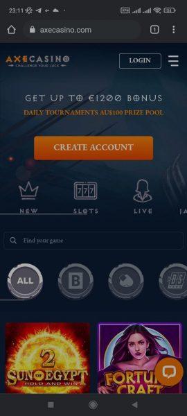Axe Casino Mobile App