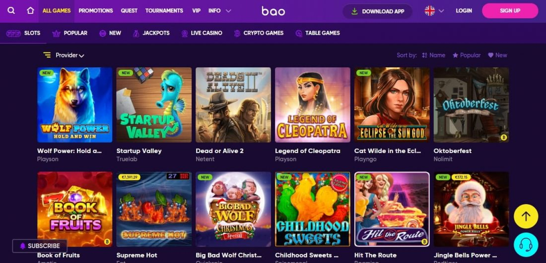 Bao Casino Games Offered