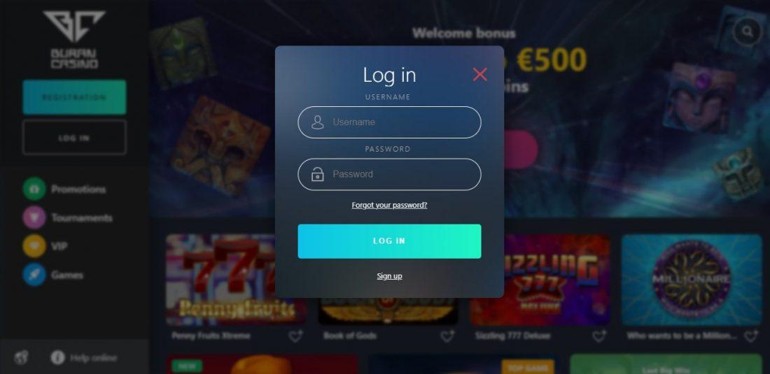 Buran Casino Login Process