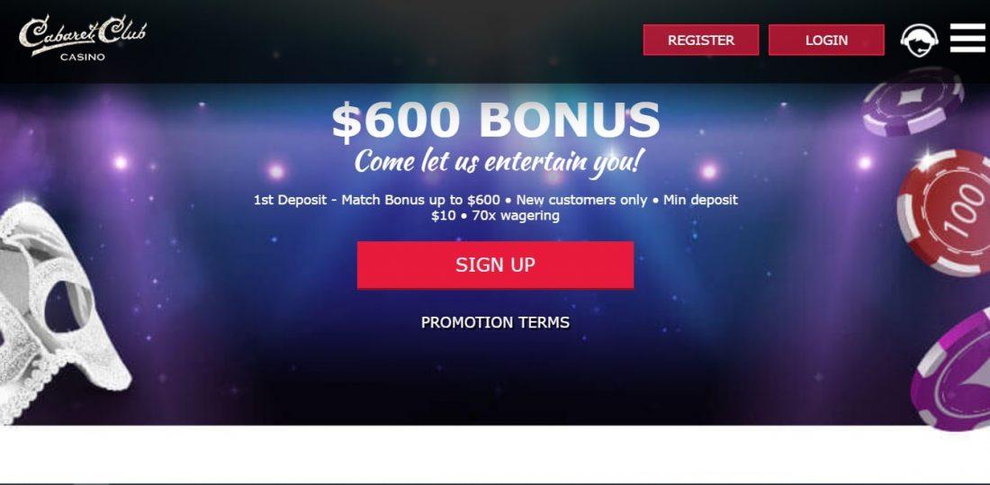 Cabaret Club Casino Welcome Bonus