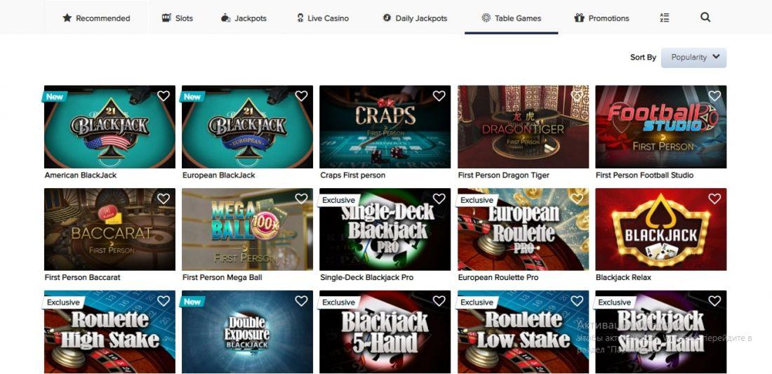 CasinoEuro Table Games