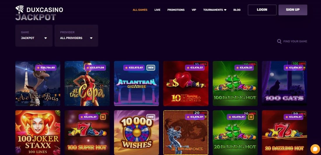 DuxCasino Jackpot Games