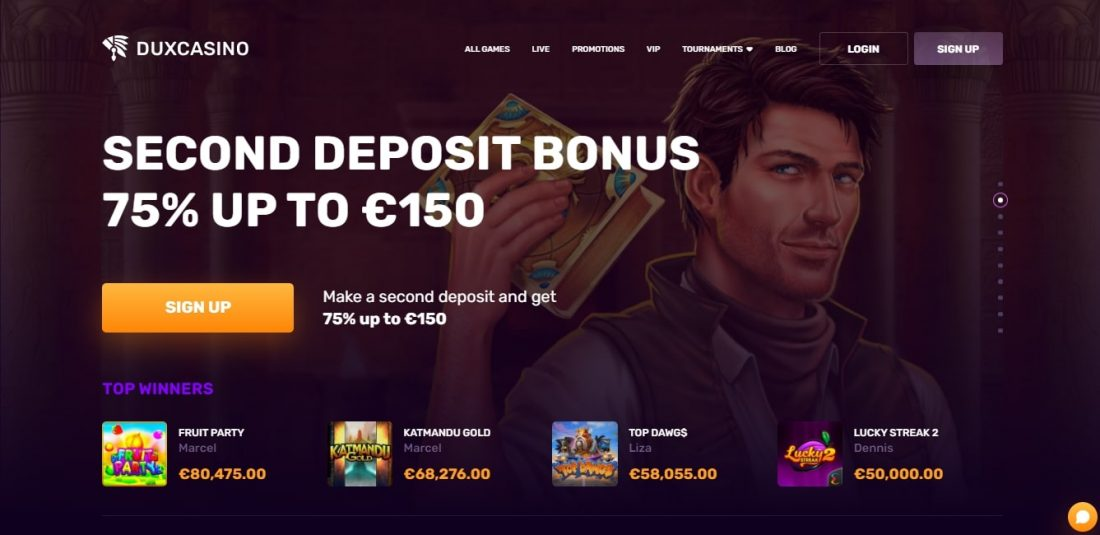 DuxCasino Second deposit bonus