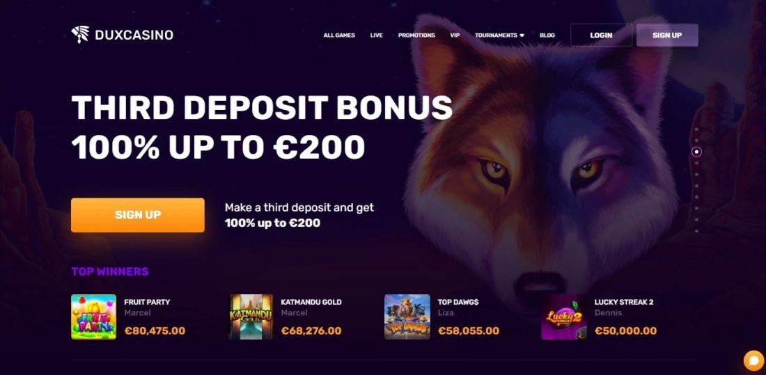 DuxCasino Third deposit bonus