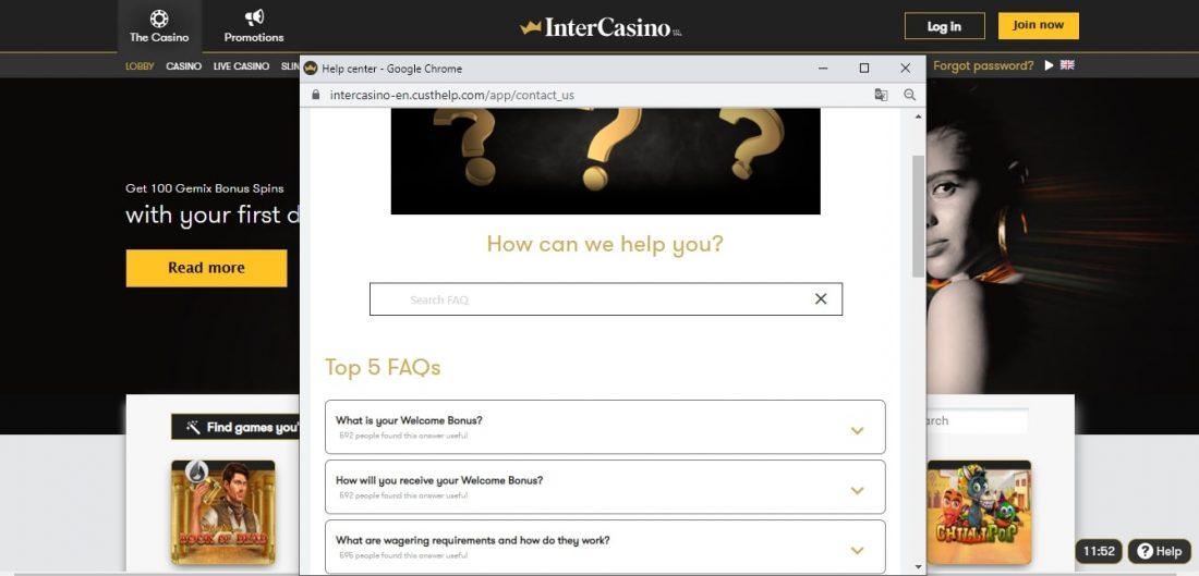 InterCasino Customer Support