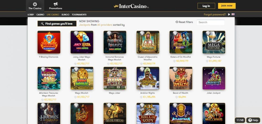 InterCasino Jackpot Slots