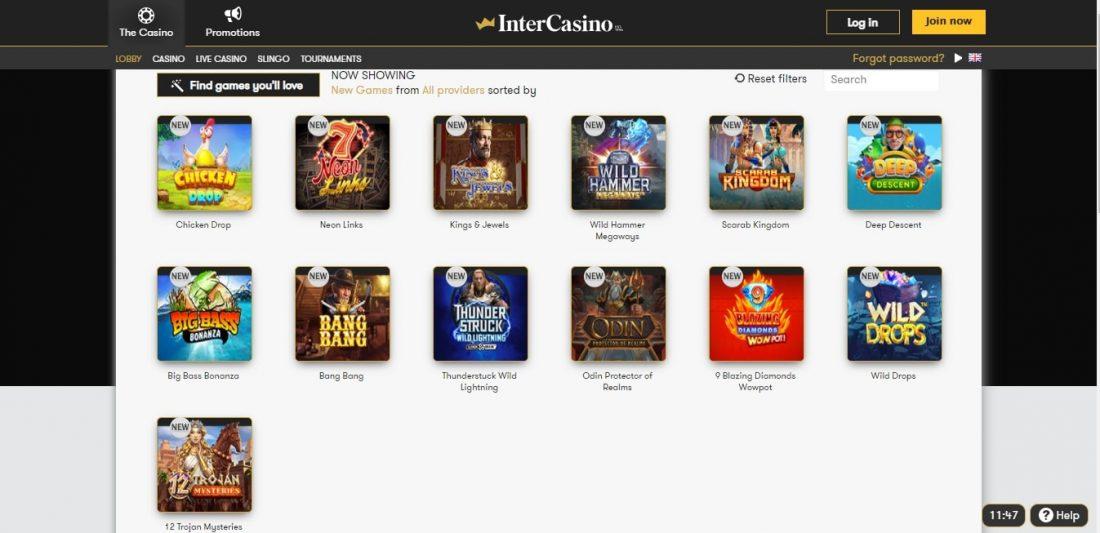 InterCasino New Games