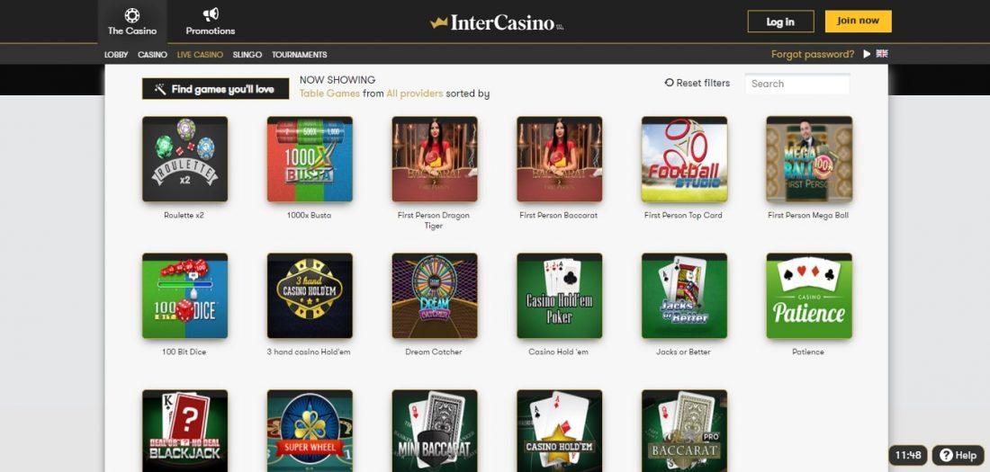 InterCasino Table Games