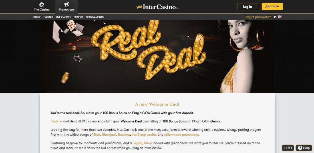 InterCasino Welcome Bonus