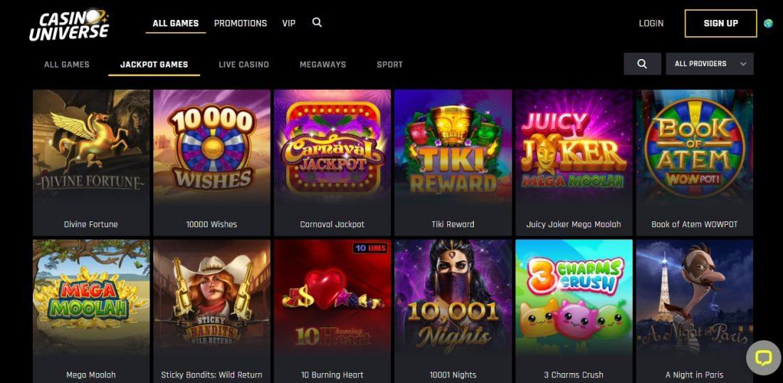Casino Universe Jackpot Games