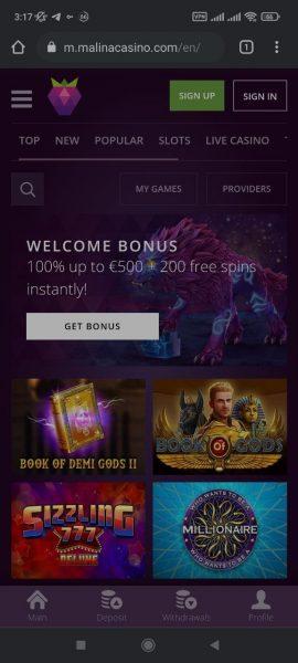 Malina Casino Mobile App
