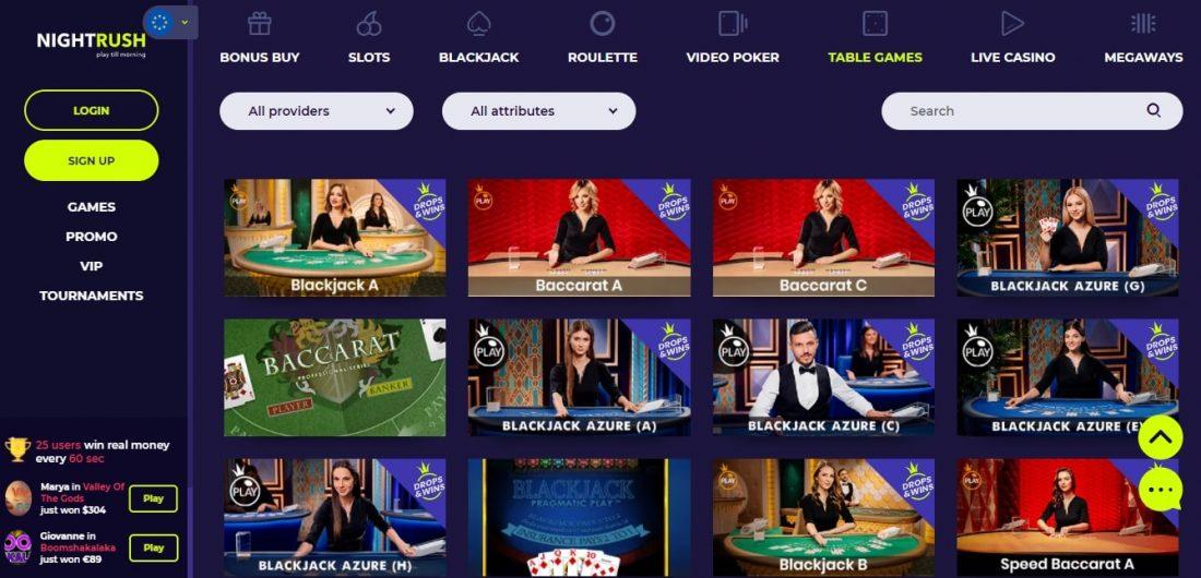 NightRush Casino Table Games