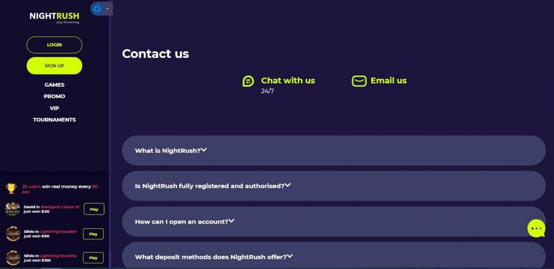 NightRush Customer Support