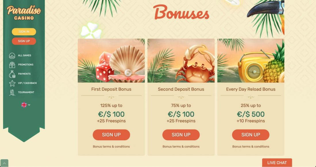 Paradise Casino Bonuses