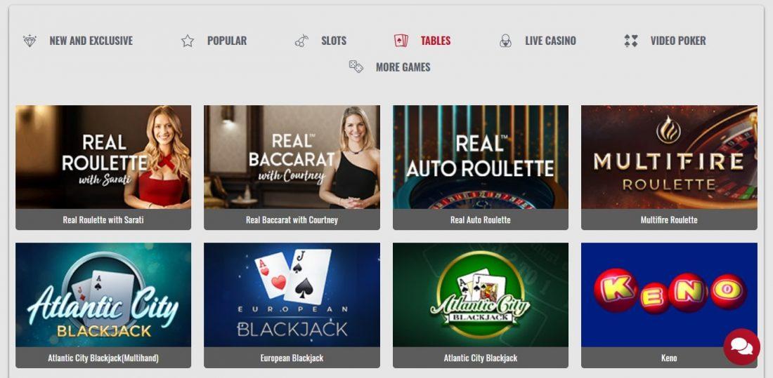Platinum Play Casino Table Games