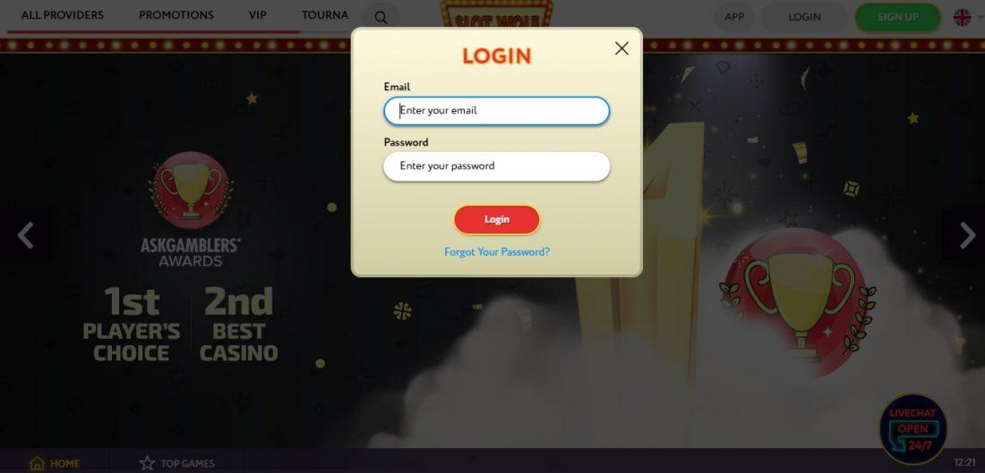 SlotWolf Casino Login Process