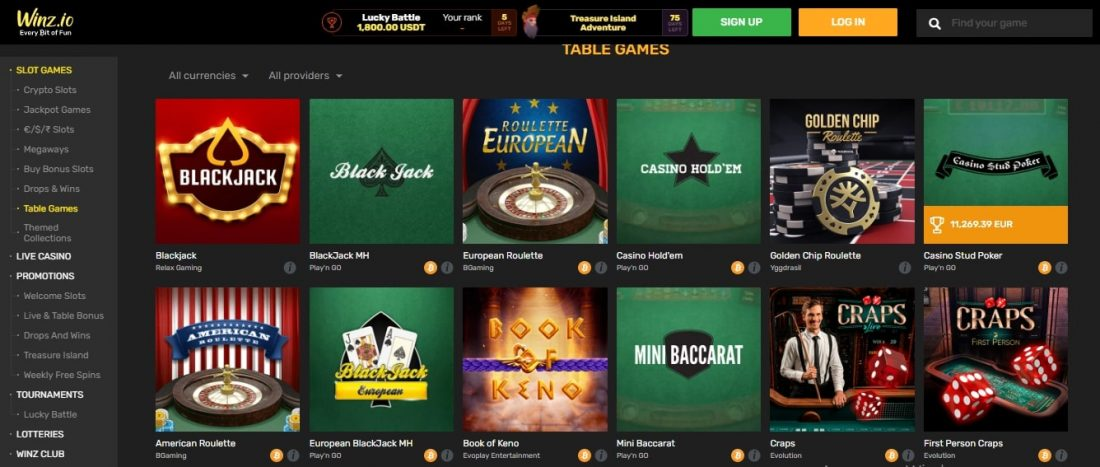 Table and Live Casino Games