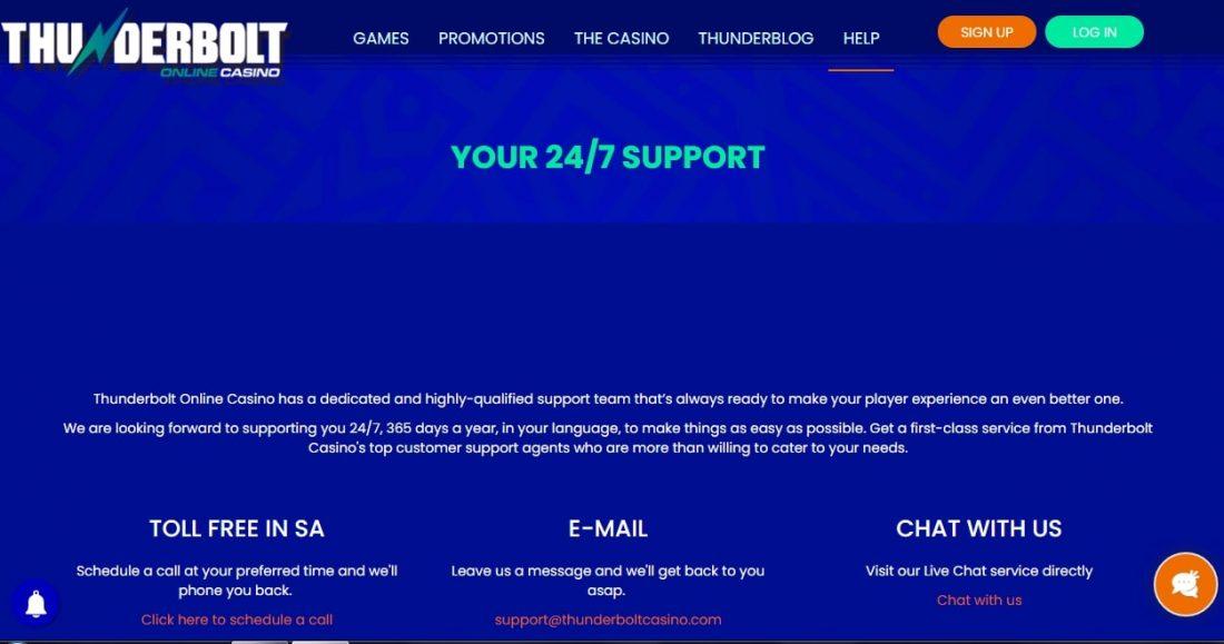 Thunderbolt Casino Customer Support
