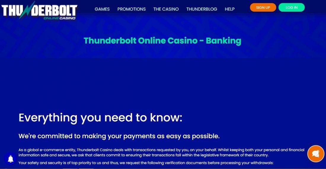 Thunderbolt casino payment methods