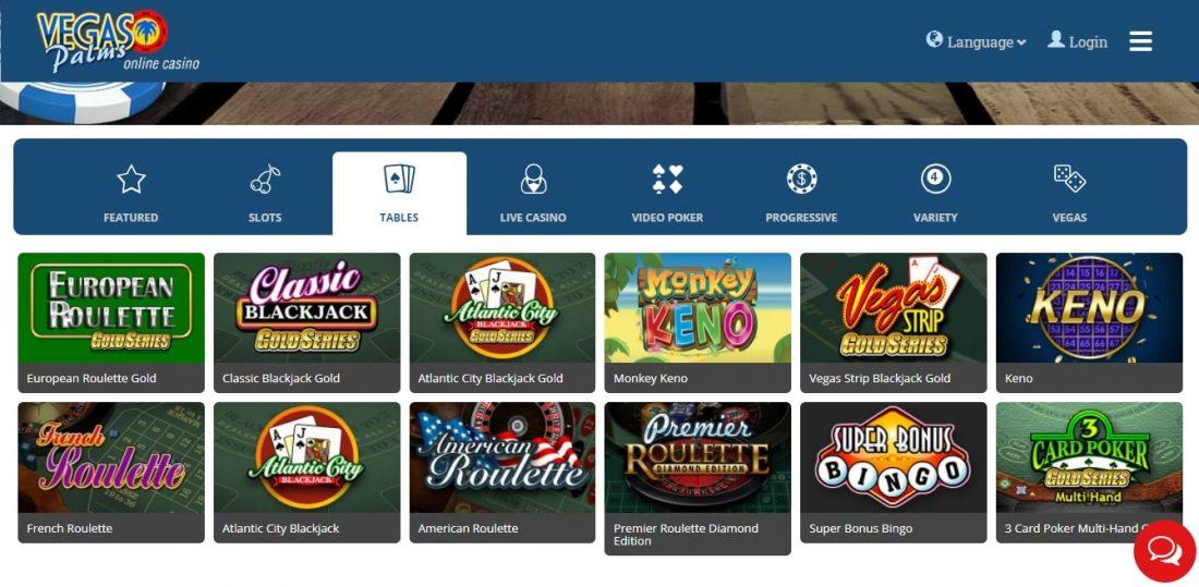Vegas Palms Casino Table Games