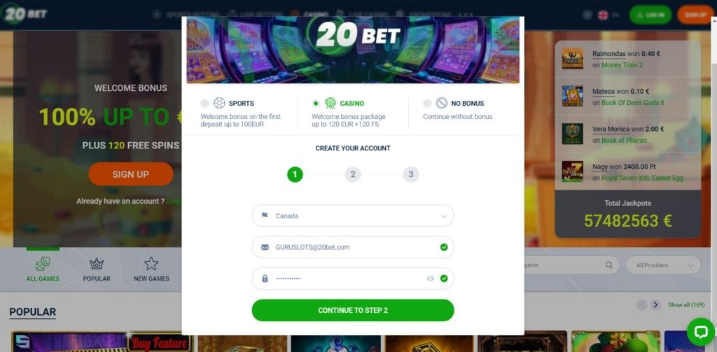 20bet casino login process