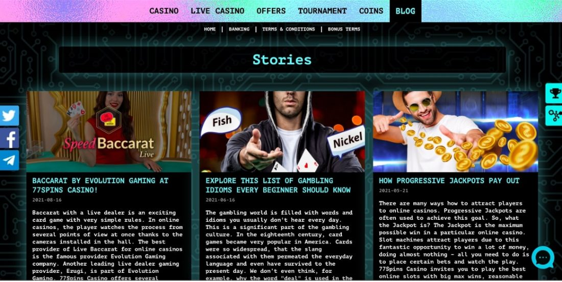 77Spins Casino mobile app